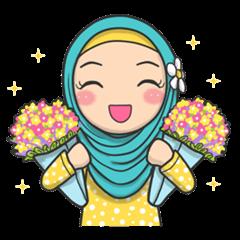 สติ๊กเกอร์ไลน์ Flower Hijab 2