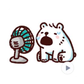 สติ๊กเกอร์ไลน์ชุด หมีขาวแบค แบค : ร๊อนร้อน