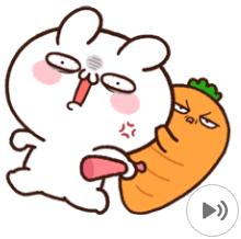 สติ๊กเกอร์ไลน์ชุด กระต่ายขี้เล่นกับเบบี๋แครอท: อารมณ์ล้วนๆ