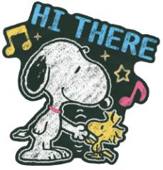 สติ๊กเกอร์ไลน์ชุด Snoopy ภาพวาดบนกระดานดำ