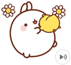 สติ๊กเกอร์ไลน์ชุด Molang ต่ายอ้วน : แจกความสุข