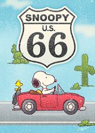 สติ๊กเกอร์ไลน์ชุด ไปขับรถเล่นกับ Snoopy