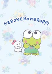 สติ๊กเกอร์ไลน์ชุด KEROKEROKEROPPI ท่ามกลางดอกไม้