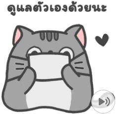 สติ๊กเกอร์ไลน์ชุด แมวสลิด ดุ๊กดิ๊ก 2