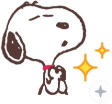 สติ๊กเกอร์ไลน์ชุด Snoopy ฉากหลังดุ๊กดิ๊กได้