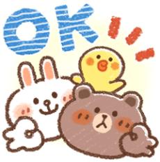 สติ๊กเกอร์ไลน์ชุด Honobono × บราวน์