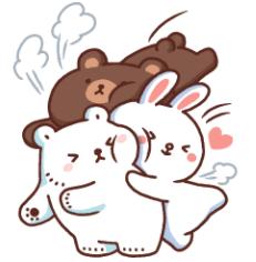 สติ๊กเกอร์ไลน์ชุด หมีขาวแบค แบค × BROWN & FRIENDS