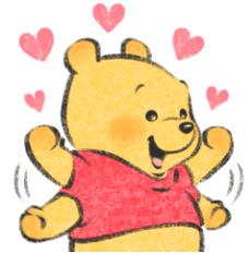 สติ๊กเกอร์ไลน์ชุด หมีพู ลายเส้น Lommy♪